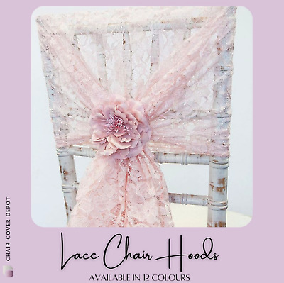 LACE HOODS 110CM x 130CM - 9 COLOURS CHAIR SASHES EVENT DECOR WEDDING CHAIRS