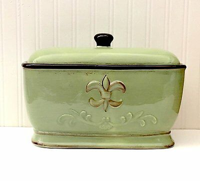 Green Ceramic Bread Box Toast Jar Hand Painted Container Food Storage Kitchen