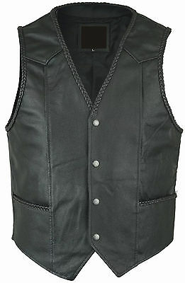 New Handmade Mens Black Leather Biker Waistcoat/Vest Cut Braided