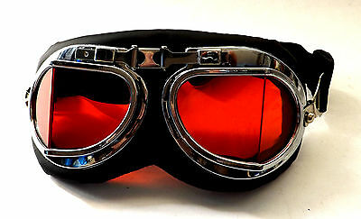 Goggles New Steampunk Victorian Cyber Fantasy World Unisex Red Lens