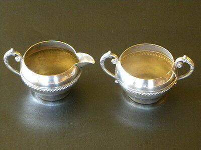Vintage Silver On Copper - Creamer & Sugar  - Clearly  Pictured -
