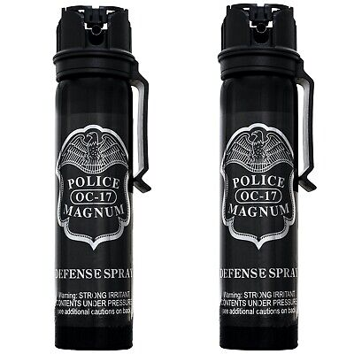 2 PACK Police Magnum pepper spray 5oz ounce Flip Top Belt Clip Fog Self Defense