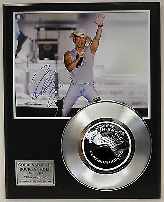 Kenny Chesney Platinum Record & Autograph Reprint Photo Display USA Ships Free