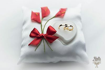 personalised wedding ring cushions, wedding ring pillow, 6a red/coral calla