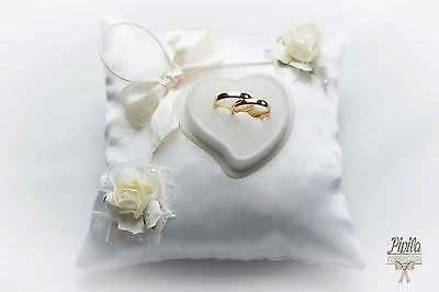 personalised wedding ring cushions, wedding ring pillow, 3d ivory #
