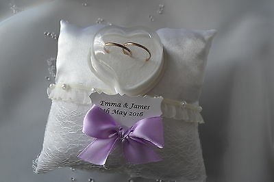 personalised wedding ring cushions, wedding ring pillow, 4d purple /lace