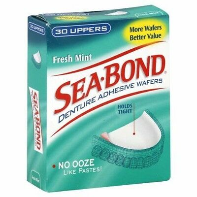 ツ 5 X Sea Bond Denture Adhesive Wafers Fresh Mint 30 Uppers Seabond Total 150