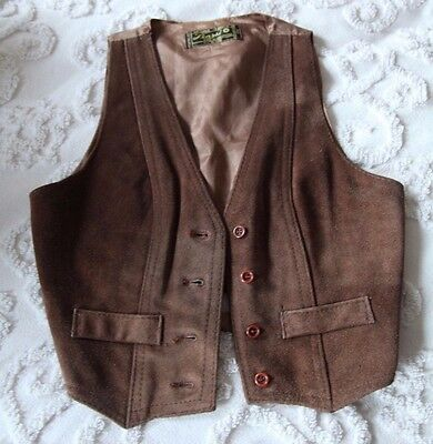 Vintage Learsi Brown Leather Suede Vest Medium 70's Western Motorcycle Biker