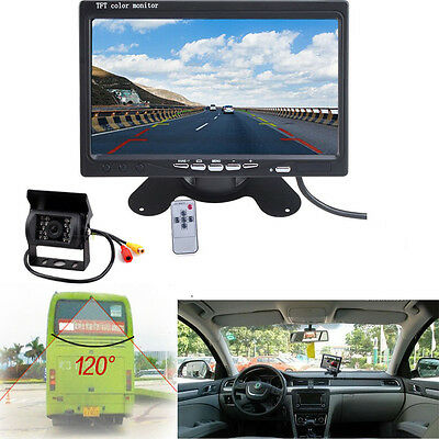 """for Bus Truck 7"""" LCD Rear View Monitor + Night Vision IR Reverse Backup Camera"""