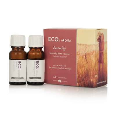 Eco. Aroma Sensuality Essential Oil Duo Pack (2 x 10ml)  Natural Organic NEW