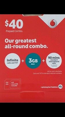 Vodafone $40 SIM CARD + Free $2 Telstra Sims 4 Port In/out For 5+ & Free Shiping