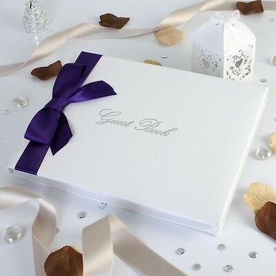 Classic Ribbons Wedding Guest Book Various Colours Available