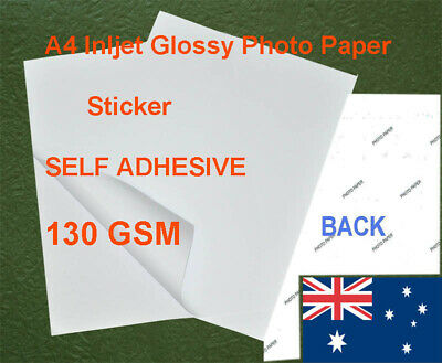 100 sheets A4 130GSM Inkjet Glossy Photo Paper Sticker Adhesive
