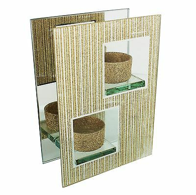 Hestia Home Collection Gold Glitter Mirror & Glass Double Tealight Holder