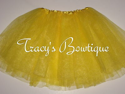 Girls Yellow Tulle Tutu Dance Halloween Dress Up Costume Party Princess Fairy