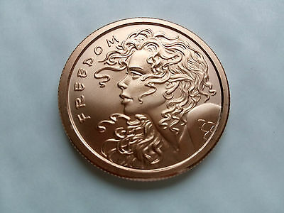 """1 oz .999 Copper round / coin """"SBS Double Obverse Freedom Girl"""""""