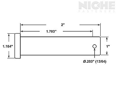 Clevis Pin 1 x 2 Low Carbon Steel (10 Pieces)
