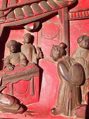 Antique Chinese Relief Carved Wood Red Temple Panel Pictures Red Seal Exquisite