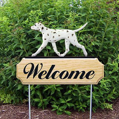 Dalmatian Oak Wood Welcome Outdoor Yard Sign Liver