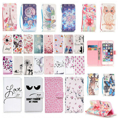 Magnetic Flip Wallet Card Pattern Stand Case Cover For iPhone 5 5S 6s 6 Plus