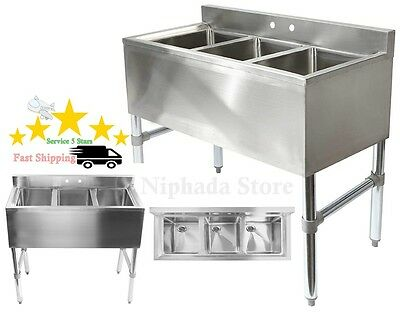 Professional Heavy Duty 3 Compartment Stainless Steel Commercial Kitchen Sink