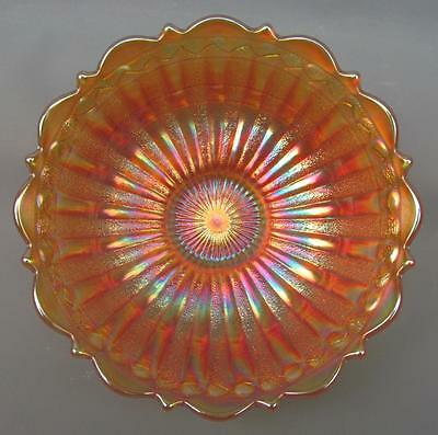 CARNIVAL GLASS - FENTON STIPPLED RAYS / SCALE BAND Marigold Footed Berry Bowl