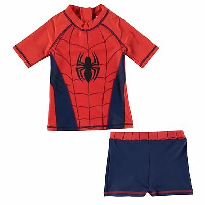 Boys Marvel Spiderman Swimming Top and Trunks Set ages 2 through to 13 BNWT