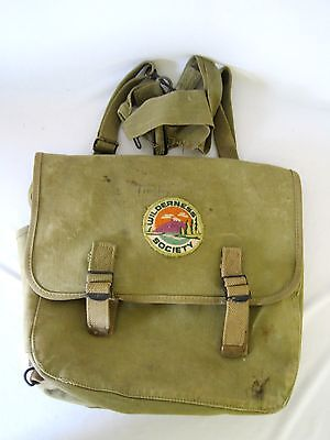 Vintage 1943 Green Canvas Boy Scout Camping Hiking Backpack Sachel Bag Patch