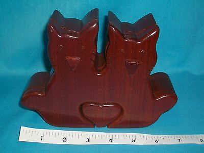 Hand Carved 2 Cat w/Heart Wooden Puzzle Box/Jewelry Box/Trinket Box