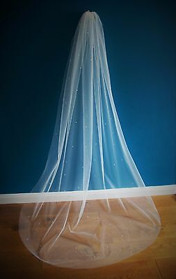 Wedding Veil *Chapel Length*1Tier*Made to Order*Off White/ivory*Pearl&Crystal*