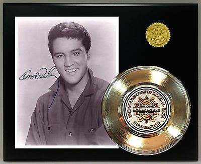Elvis Presley - 24k Gold Record & Reprinted Autographed Photo - USA Ships Free