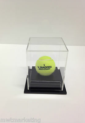 Tennis Ball Display Case Acrylic Perspex: Black Premium and Clear Deluxe Sale UV