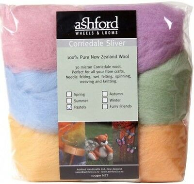 """FIBRE PACK  """"PASTELS"""" 7 colour pack of our popular 30 micron Corriedale"""