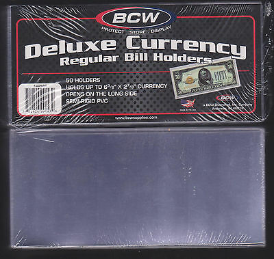 50 Regular Bcw Deluxe Currency Sleeve Bill Holders Paper Money Semi Rigid0