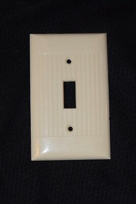 Vintage Mid Century Sierra Single Light Switch Cover Ribbed Ivory Bakelite