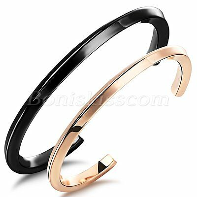 Couples Simple Stylish Stainless Steel Half Open Bracelet Cuff Bangle For Gift