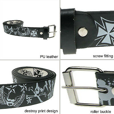 38mm Printed Removable Press Stud Buckle PU Leather Mens Womens Belt UK B111