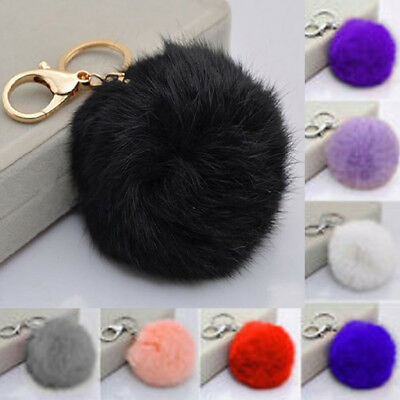 Charm Key Ring Rabbit Fur Ball PomPom Cell Phone Car Keychain Pendant Handbag