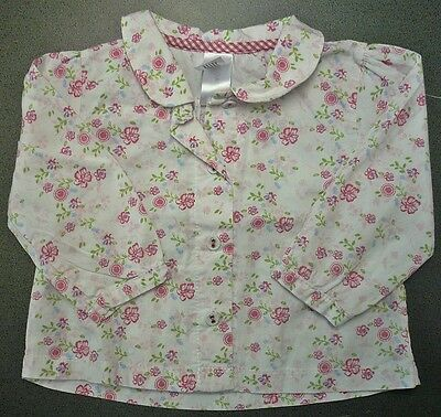 Girls Baby Club at C&A Long Sleeve White Blouse Floral Print Size 68 3-6 Months