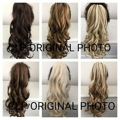 UK Claw Clip Ponytail Hair Extension, Curly, Thick, Long, Natural Looking Hair