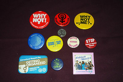 10pc Women's Liberation & Equality Pinback Button Lot Vintage Why Not?