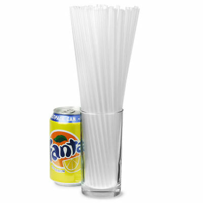 "300x Alcopop Straight Straws Clear 10.5"" Cocktail Straw Plastic Drinking Bar Pub"