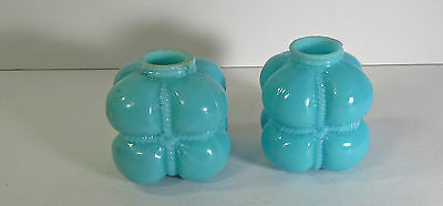 "Pair Of Conoslidated ""cotton Bale"" Blue Opaque Glass Shakers"