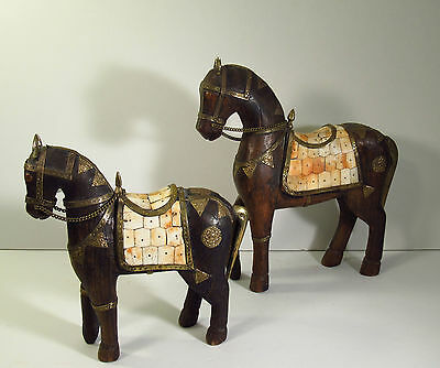 Matching Pair Asian Hand Carved Wood Horse Statues W/brass Copper & Bone Decor