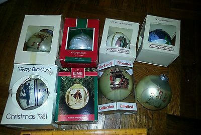 Lot 8 Vintage limited edition XMAS balls 75-90 yys rare toys Norman Rockwell