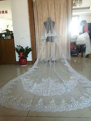 3 M Long Cathedral Length 2 T Lace Bridal Wedding Veil With Comb