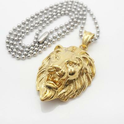Mens jewelry gold stainless steel lion head pendant silver chain mens jewelry gold stainless steel lion head pendant silver chain necklace aloadofball Image collections