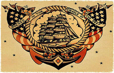 Rocked Cradle Deep vintage Sailor Jerry Traditional style tattoo poster print