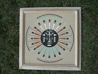 Native American Indian Original Navajo Sand Painting SUN & EAGLE signed Johnson
