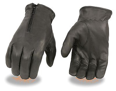 Men's Motorcycle Butter Soft Warm Driving Gloves With Zipper Closure Lined New
